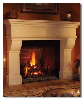 wood burning masonry fireplace