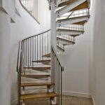 wood and metal spiral stair