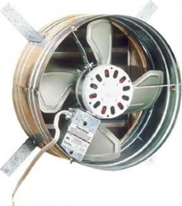 Electric gable fan vents when it's powered on, closes when off.
