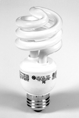 Compact fluorescent light bulbs are a must for saving home energy.