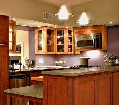 this kitchen employs various types of lighting accent lighting type