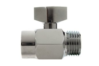 A chrome shower shutoff valve over a white background.