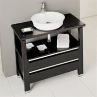 Console vanity offers an open look with some storage.