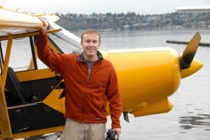 Christian piloting a seaplane in Seattle