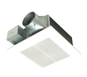 Low-profile bathroom fan fits in 2x6 ceiling framing. Buy on Amazon.