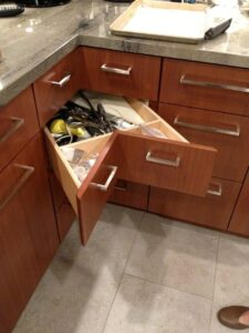 Corner drawers is outstanding for reclaiming lost space.