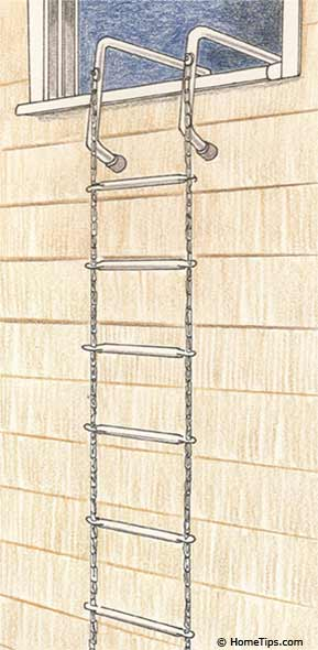 Escape ladder, stored in second-story room, provides a second escape route.