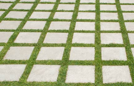 concrete pavers grass