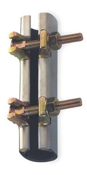 Stainless-steel pipe clamp is a sturdy, quick fix for a pipe leak. Photo: Mueller Industries