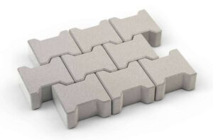 Interlocking concrete pavers form a contiguous surface that resists separations, provides visual interest.