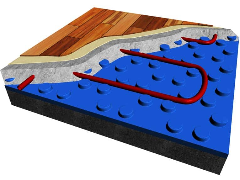 Hydronic radiant floor heating system uses a plastic base to hold tubing in place while concrete is poured to encase it.