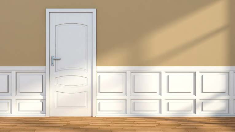 Wainscoting features raised double panels.