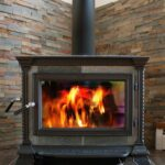 wood stove on stone hearth
