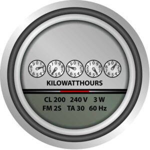 Old-school mechanical electric meters measure electrical usage with a series of numbered dials.