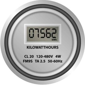 Digital electric meter has easy-to-read numbers to measure electrical usage.