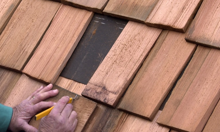 Measure For The Width Of The Replacement Shingle, Allowing About 1/2 Inch Of