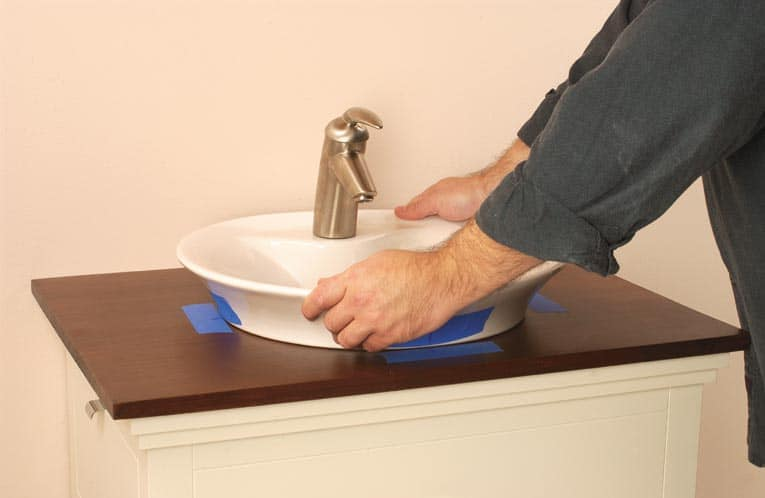 position countertop bath sink