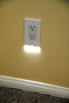 Gentle night light automatically turns on when the room is dark.