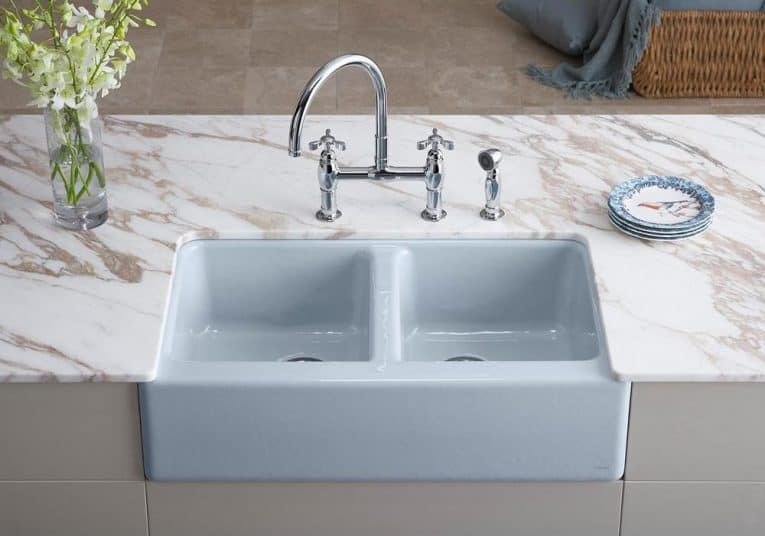 double bowl farmhouse apron sink