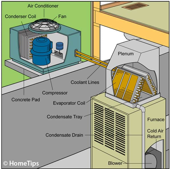 Cut-away diagram of a central airconditioning system, including compressor and condenser connected to a furnace.