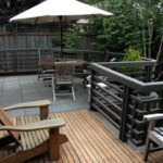 raised wood deck with railing