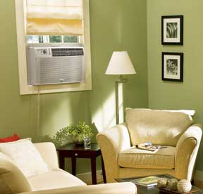 Light green living room with a sofa set and window-type air conditioner.