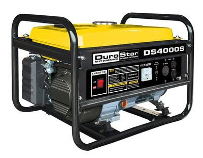 A small DuroStar portable electric generator over a white background.