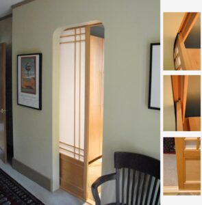 Wooden pocket sliding door with translucent panels.