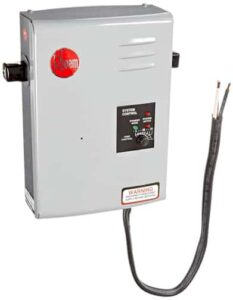 A flow-through, under-counter electric water heater, with adjusting dial and wiring.