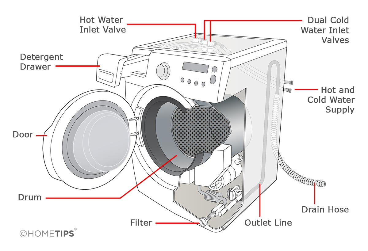 Cutaway diagram of a front-loading washing machine including internal and external parts.