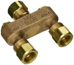 Anti-sweat toilet tank brass valve with hot and cold indicator.