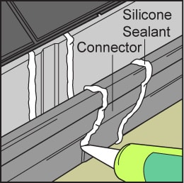 White silicone sealant applied to gutter seams.