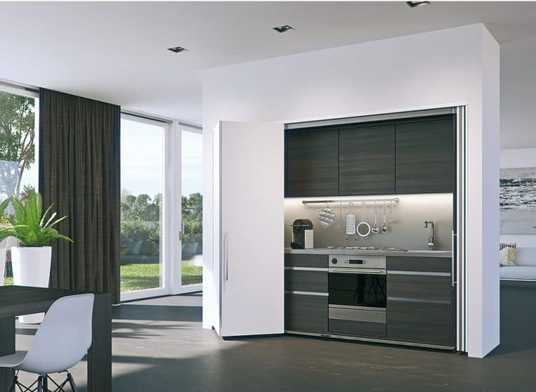 Modern white bi-fold doors that recess at the sides.