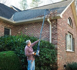 gutter cleaning with blower