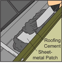 Metal sheet patch on a gutter including roofing cement applied onto with a scraper.