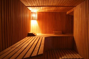 A sauna's wooden interior, including bench, ceiling, floor, and walls.