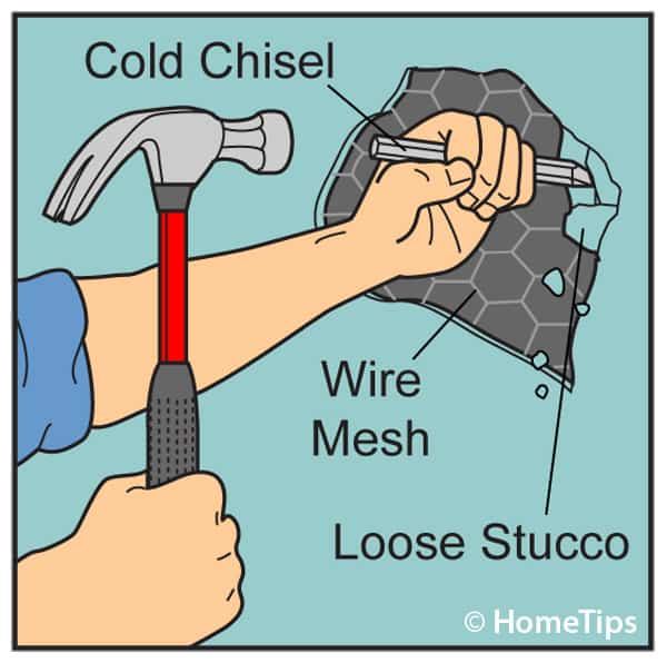 Diagram of a man's hands hammering loose stucco on wire mesh with a cold chisel.
