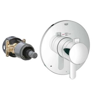 A chrome thermostatic, anti-scald shower valve control module with trim.