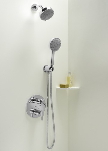 A shower room's wall-mounted and handheld showerheads, including a two-handle thermostatic valve.