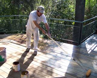 bleaching and cleaning a deck