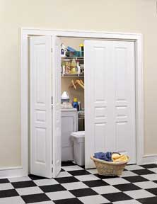 White bi-fold laundry room doors.