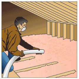 Man holding a blower hose, installing blown-in insulation overlapping exterior wall top plate and joists.