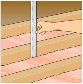 Man's hand measuring the depth between insulation and joists with a ruler.