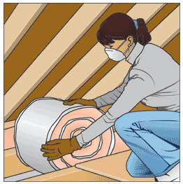 A woman installing a roll of insulation between ceiling joists.