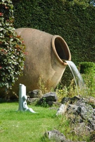 Garden water features create visual interest and a offer pleasant sound.