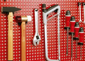 garage storage metal pegboard with hangers