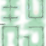 Illustration on dos and don'ts of a piping layout, including sprinkler heads' locations.