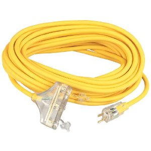 A yellow 100-foot heavy duty extension cord.