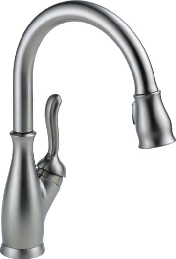 Single-handle pull-down gooseneck faucet with stainless steel finish