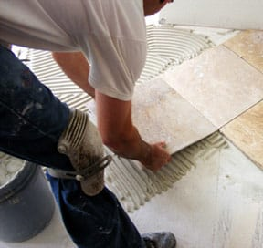 Stone tile installation
